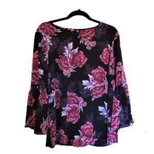 Bobeau bell Ruffle Sleeve dark floral tunic top